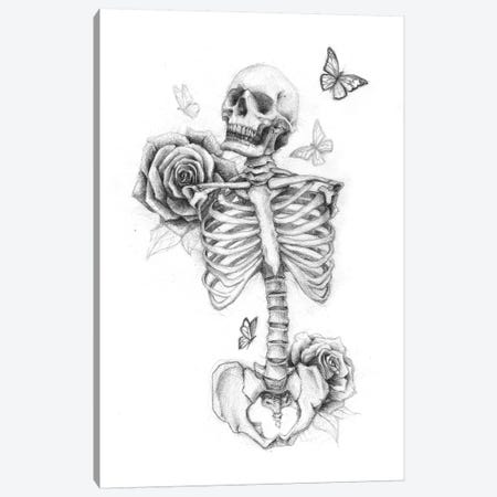 Skeleton And Roses II Canvas Print #MKB58} by Mike Koubou Canvas Art