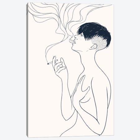 Smoking Canvas Print #MKB60} by Mike Koubou Canvas Print