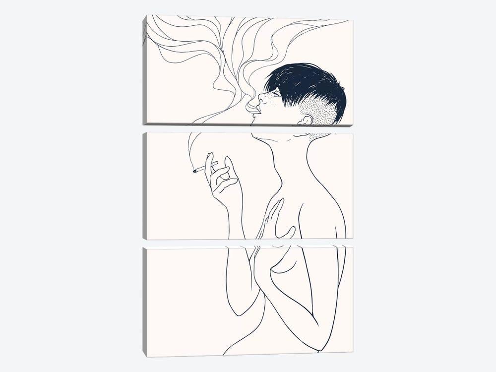 Smoking by Mike Koubou 3-piece Canvas Art Print