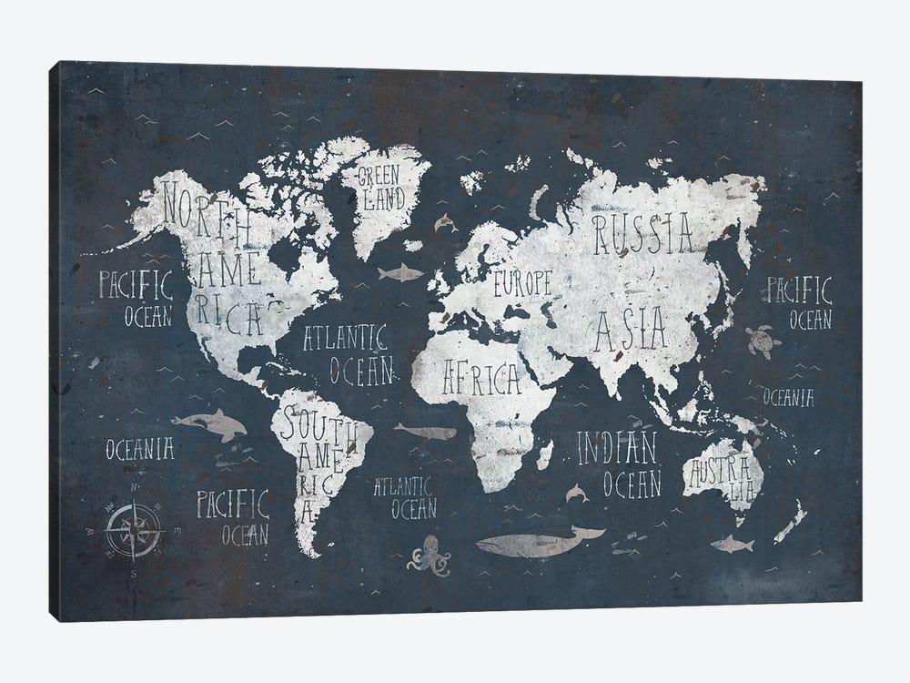 World Map by Mike Koubou 1-piece Canvas Artwork