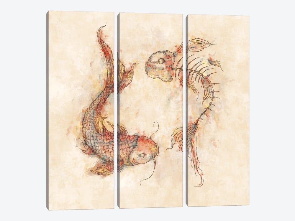Yin Yang Fish by Mike Koubou 3-piece Canvas Print