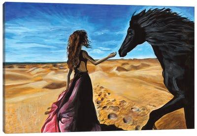 Woman In A Desert Canvas Art Print