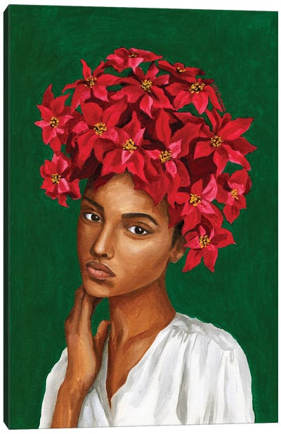 Girl With Poinsettia Flowers Canvas Art Print
