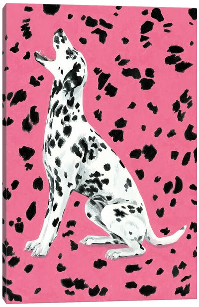 Dalmatian Dog On Pink Background Canvas Art Print