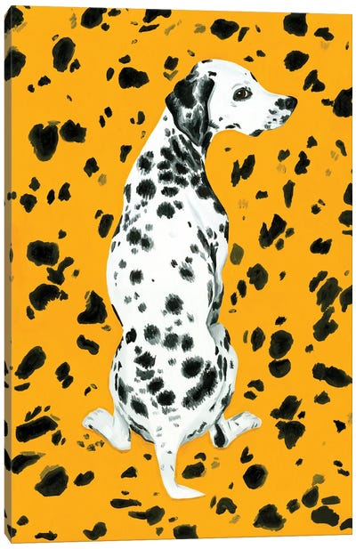 Dalmatian Dog On Yellow Background Canvas Art Print