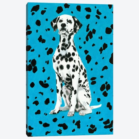 Dalmatian Dog On Blue Background Canvas Print #MKC23} by Mila Kochneva Canvas Wall Art