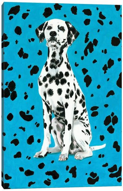 Dalmatian Dog On Blue Background Canvas Art Print