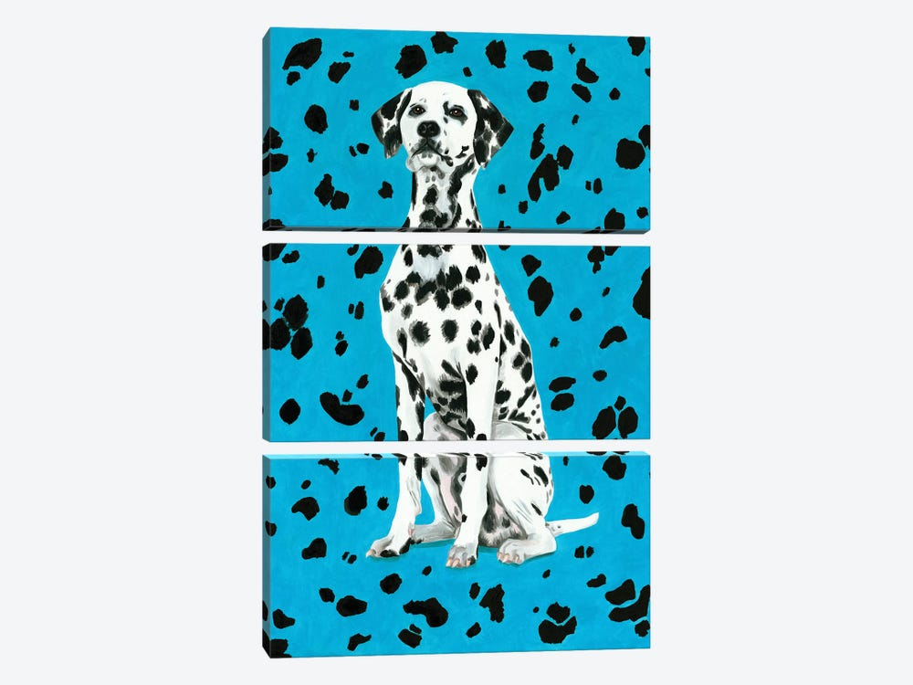 Dalmatian Dog On Blue Background 3-piece Canvas Print