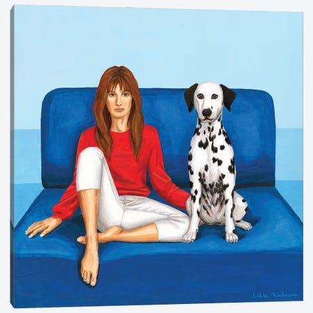 Girl With Dalmatian Dog On A Blue Sofa Canvas Print #MKC26} by Mila Kochneva Canvas Print