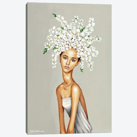 Girl With White Orchids. Canvas Print #MKC28} by Mila Kochneva Canvas Art