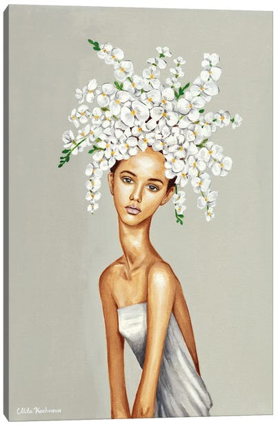 Girl With White Orchids. Canvas Art Print