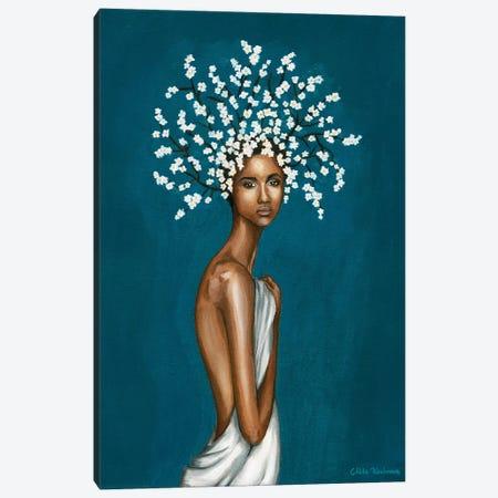 Girl With White Gypsophila Flowers Canvas Print #MKC2} by Mila Kochneva Canvas Artwork