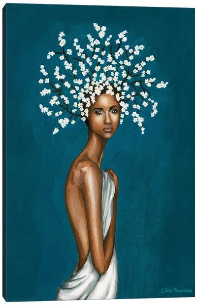 Girl With White Gypsophila Flowers Canvas Art Print
