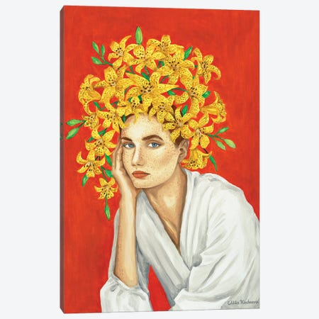 Girl With Yellow Lilies Canvas Print #MKC4} by Mila Kochneva Canvas Art Print