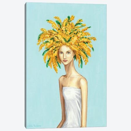 Girl With Mimosa Flowers Canvas Print #MKC5} by Mila Kochneva Canvas Art Print
