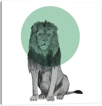 Sitting Lion Canvas Art Print