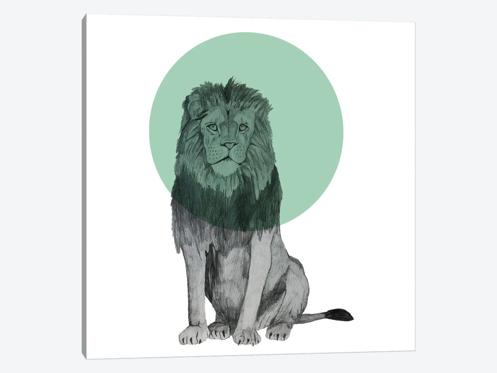Sitting Lion by Morgan Kendall 1-piece Canvas Artwork