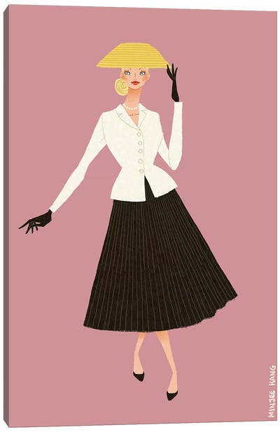 Dior New Look Pink Canvas Art Print