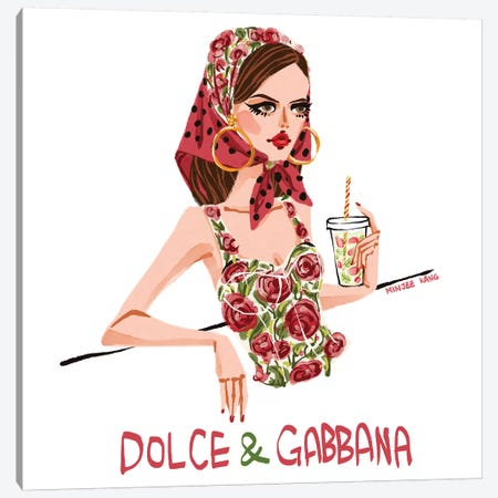 Dolce & Gabbana Rose 3-Piece Canvas #MKG22} by Minjee Kang Canvas Art
