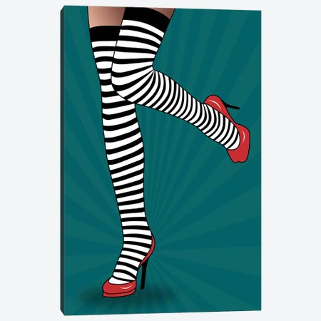 Feet With Striped Tights Canvas Print #MKH28} by Mark Ashkenazi Canvas Art Print