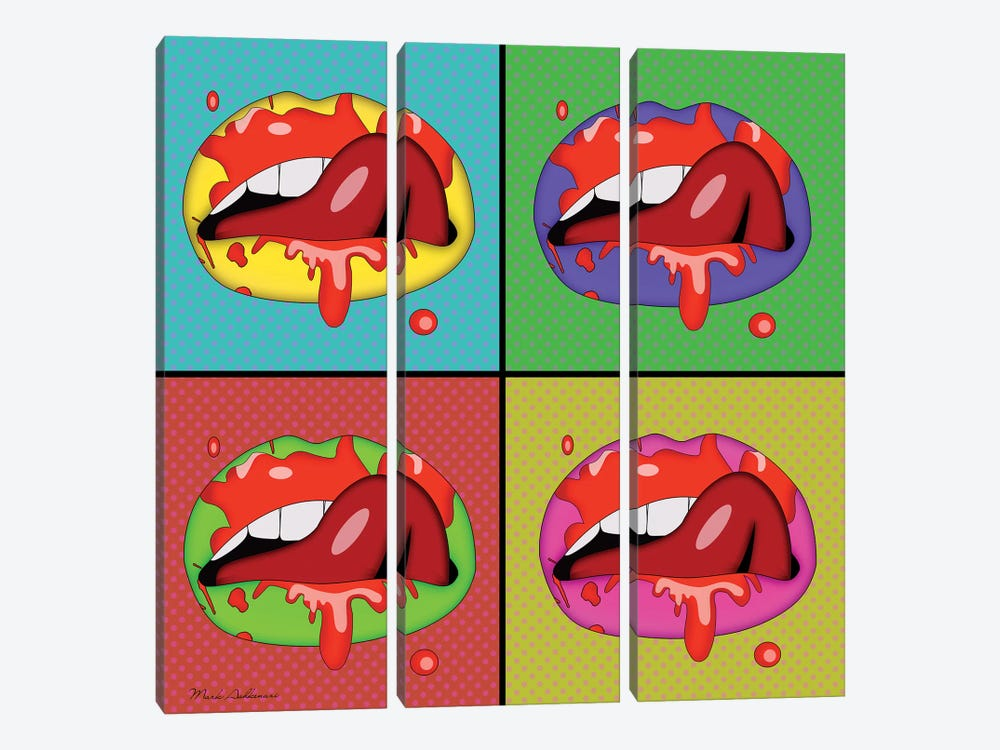 Lips II by Mark Ashkenazi 3-piece Canvas Art