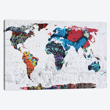 Map Graffiti Canvas Print #MKH64} by Mark Ashkenazi Canvas Art