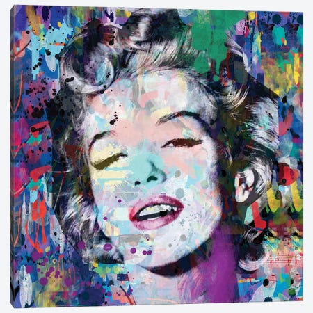 Marilyn Monroe Blue Canvas Print #MKH68} by Mark Ashkenazi Canvas Print