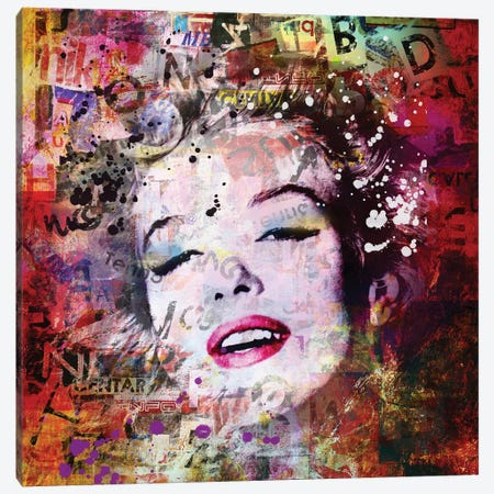 Marilyn Red Canvas Print #MKH70} by Mark Ashkenazi Canvas Wall Art