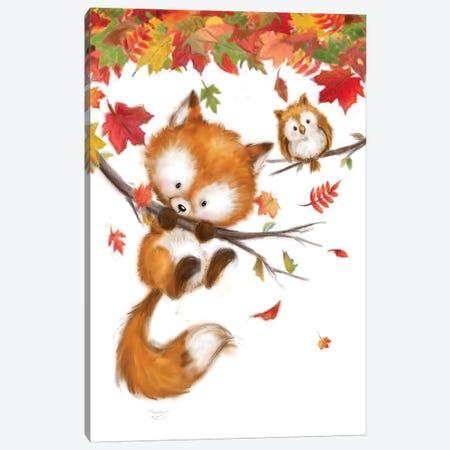 Fox And Owl Canvas Print #MKK101} by MAKIKO Canvas Artwork