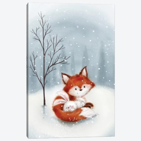Fox And Rabbit I Canvas Print #MKK102} by MAKIKO Canvas Artwork