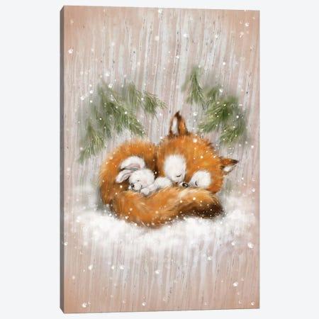 Fox And Rabbit II Canvas Print #MKK103} by MAKIKO Canvas Wall Art