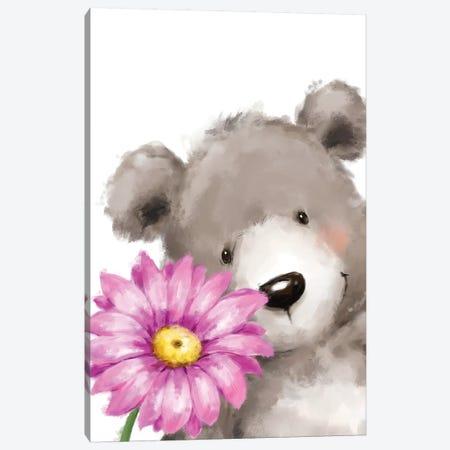 Bear and Flower Canvas Print #MKK10} by MAKIKO Canvas Art Print