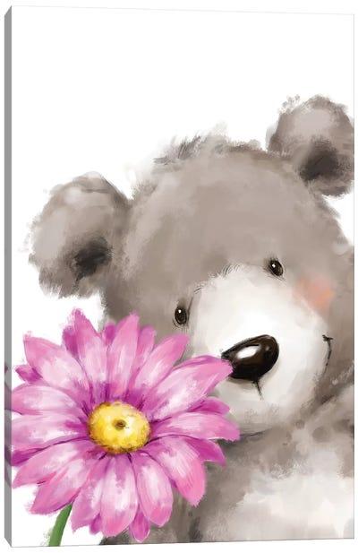 Bear and Flower Canvas Art Print