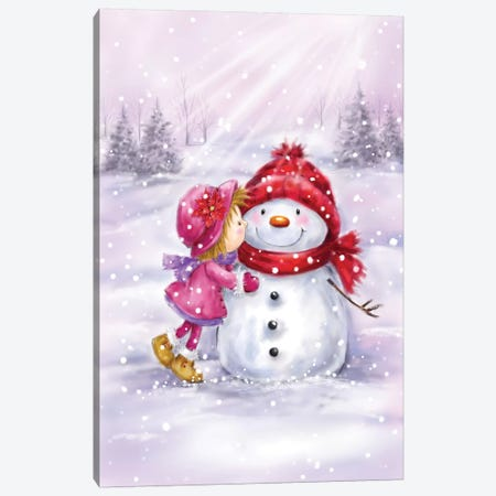 Girl Kissing Snowman Canvas Print #MKK110} by MAKIKO Canvas Art Print