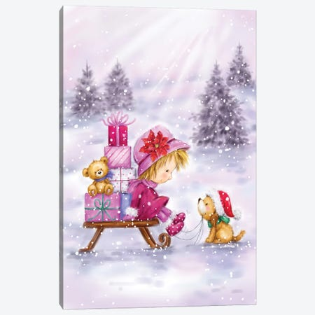 Girl With Present And Dog Canvas Print #MKK115} by MAKIKO Canvas Wall Art