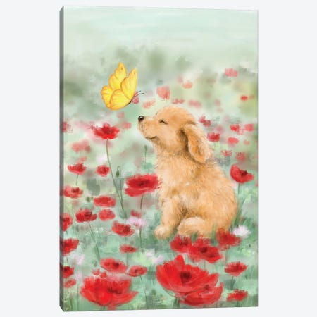 Golden with Butterfly Canvas Print #MKK119} by MAKIKO Canvas Print