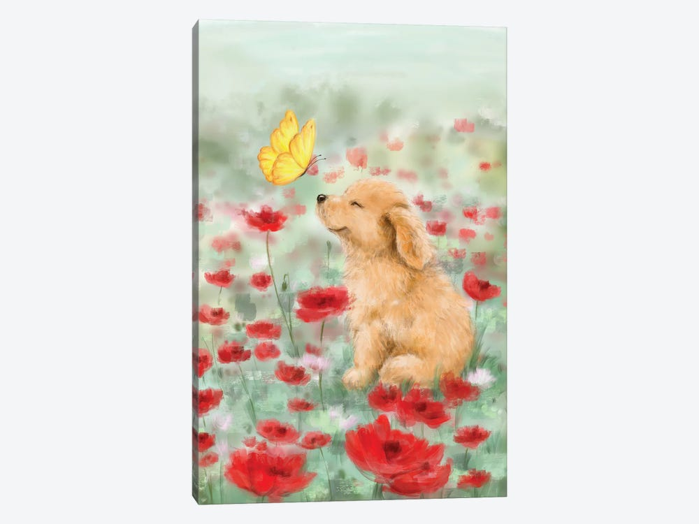 Golden with Butterfly by MAKIKO 1-piece Canvas Art