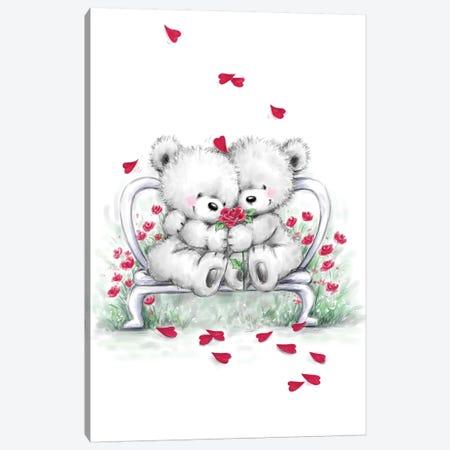 Grey Bear Couple on Bench Canvas Print #MKK120} by MAKIKO Canvas Art