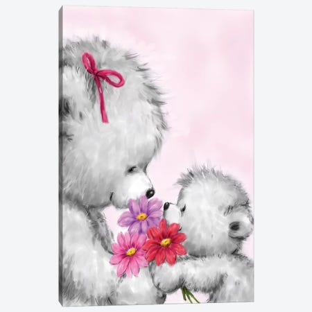 Grey Bear Mother s Day Canvas Print #MKK123} by MAKIKO Canvas Artwork