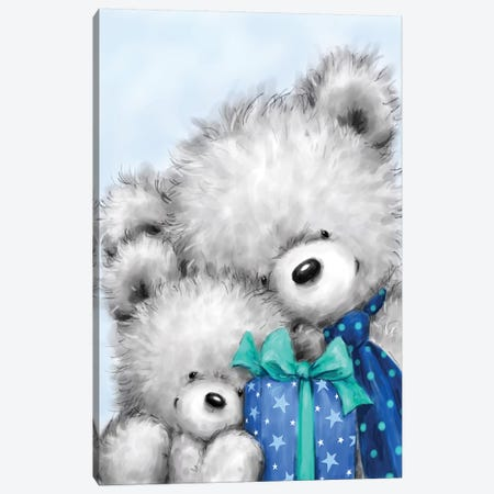 Grey Bears Father s Day 3-Piece Canvas #MKK125} by MAKIKO Canvas Art Print