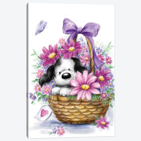Grey Dog in Basket Canvas Print #MKK126} by MAKIKO Canvas Art Print