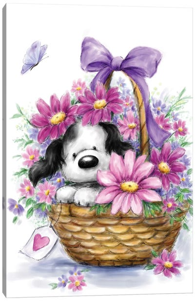 Grey Dog in Basket Canvas Art Print