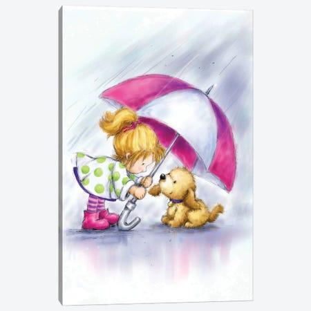 Little Girl and Dog Under Umbrella Canvas Print #MKK129} by MAKIKO Canvas Artwork