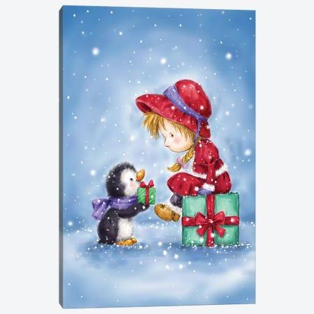 Little Girl and Penguin I Canvas Print #MKK130} by MAKIKO Art Print