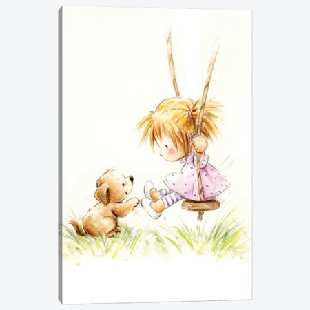 Little Girl on Swing with Dog Canvas Print #MKK133} by MAKIKO Art Print