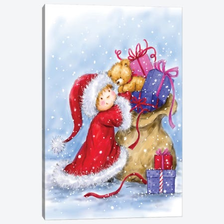 Little Girl with Christmas Present Canvas Print #MKK134} by MAKIKO Canvas Artwork