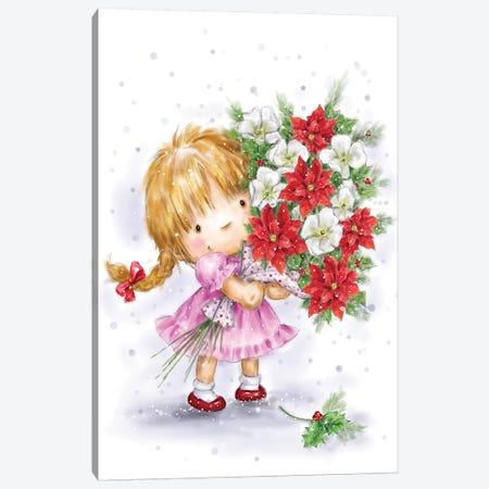 Little girl with Poinsettias Canvas Print #MKK135} by MAKIKO Canvas Wall Art