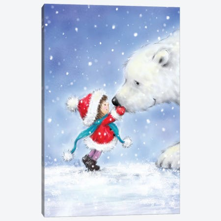 Little Girl with Polar Bear 3-Piece Canvas #MKK136} by MAKIKO Canvas Art