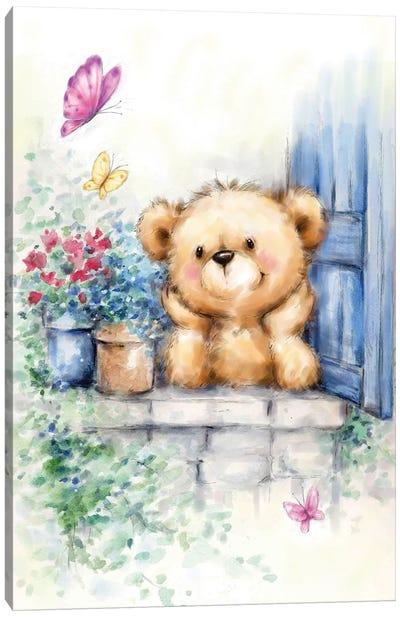 Bear at Window Canvas Art Print