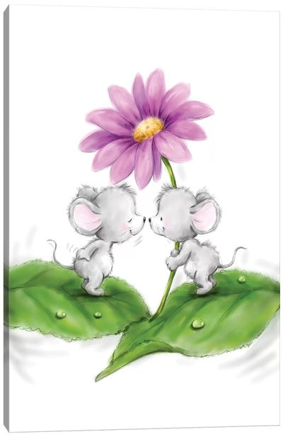 Mice with flower Canvas Art Print